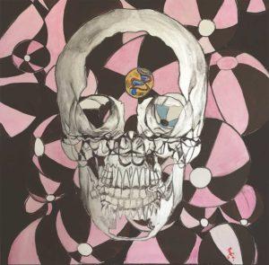 skull pink balloon